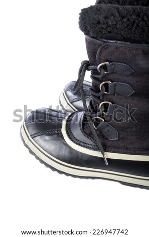 Pair of Men's Waterproof Lined Winter Boots Isolated on White Background - stock photo