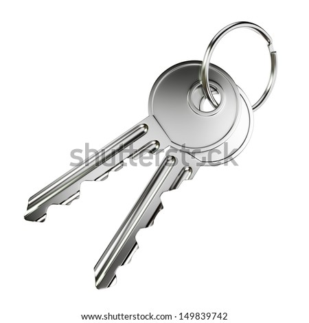 Pair of nickel door keys isolated on white background - stock photo