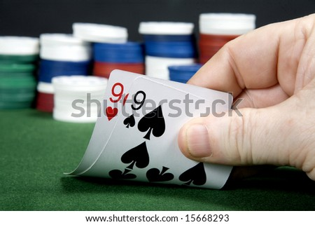Pair of nines at poker - stock photo