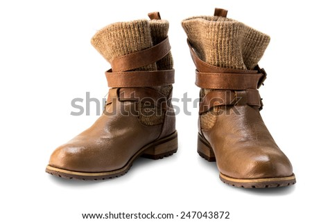 Pair of old brown working boot Isolated on white background - stock photo