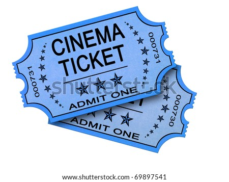 Pair of old cinema ticket isolated on white - stock photo