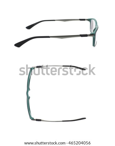 Pair of optical glasses isolated over the white background, set of two different foreshortenings