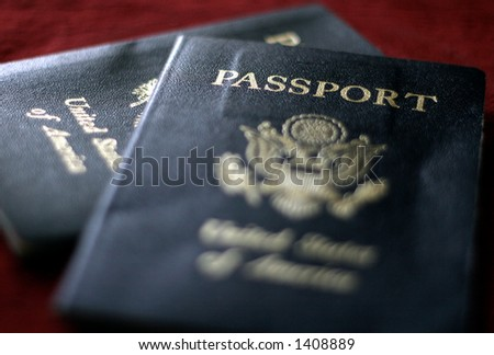 Pair of passports. - stock photo