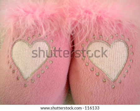 Pair of pink fluffy love - stock photo
