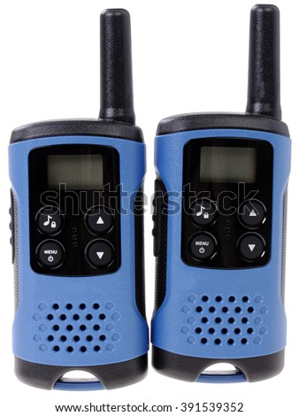 Pair of portable radio sets on a white background - stock photo