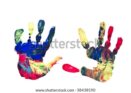 Pair of preschooler's hand prints isolated on a white background. - stock photo