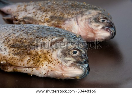 Pair of raw fresh crucian , spiced, on a brown plate