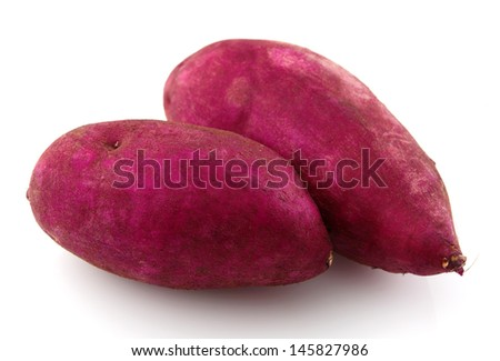 Pair of raw sweet potatoes isolated on white. - stock photo