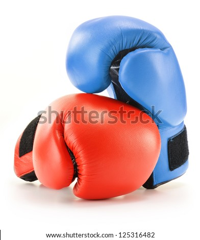 Pair of red and blue leather boxing gloves isolated on white - stock photo