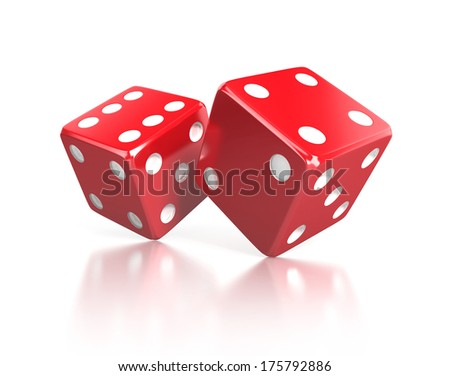 pair of red dices, gaming concept, 3d illustration isolated on white background - stock photo