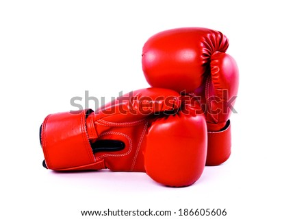 Pair of Red Leather Boxing Gloves Sport isolated on white background. - stock photo