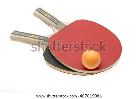 Pair of red ping-pong rackets and ball, isolated on white background - stock photo