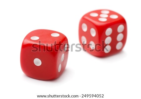 Pair of red plastic dice isolated on white - stock photo