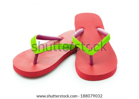 Pair of red sandal isolated on white background - stock photo