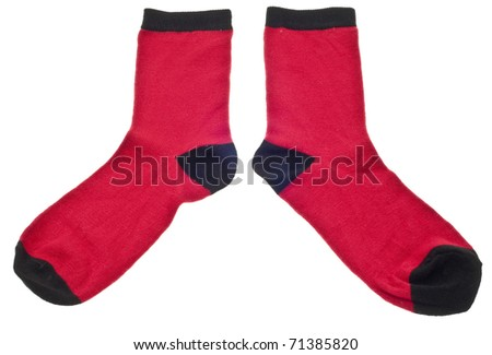 Pair of Red Socks Isolated on White with a Clipping Path. - stock photo