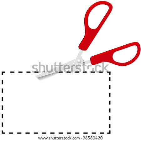 Pair of red utility scissors cut out coupon copy space on dotted line - stock photo