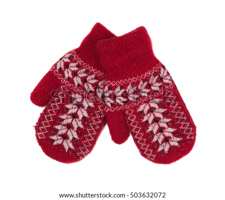 Pair of red woolen gloves, isolate on white