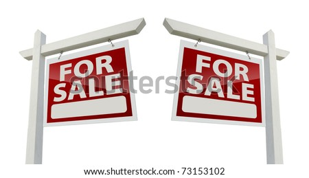 Pair of Right and Left Facing For Sale Real Estate Signs Isolated on a White Background with Clipping Paths. - stock photo
