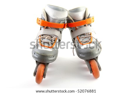 Pair of roller skates isolated on white background