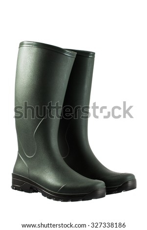 Pair of rubber boots isolated on white - stock photo