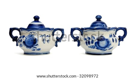 Pair of Russian porcelain sugar basins. Gzhel is a russian national craft, mass production - stock photo