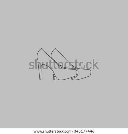 Pair of shoes. Flat outline icon on grey background