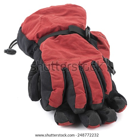 Pair of ski gloves isolated on white background. - stock photo