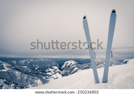 Pair of skis in snow covered ridge. Winter landscape in the background.