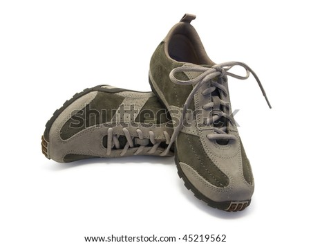 Pair of sneakers on white background - stock photo