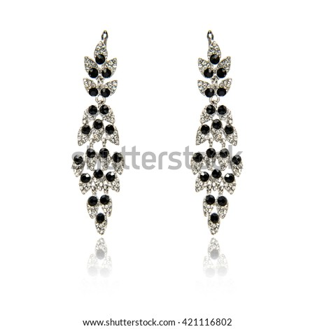 Pair of spinel diamond earrings isolated on white - stock photo