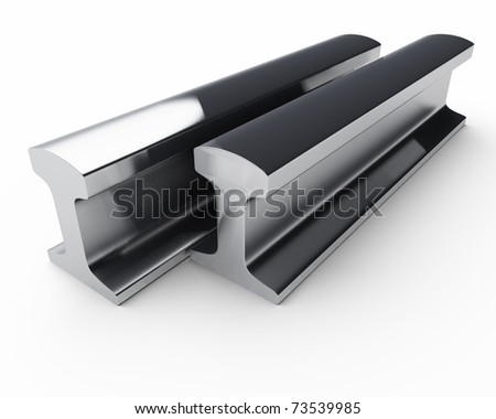 pair of steel rails isolated over white - stock photo