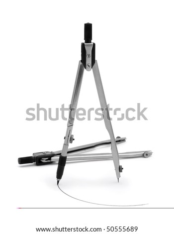 Pair of  technical drawing compasses isolated om white - stock photo