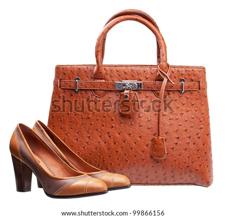 Pair of terracotta women shoes and handbag over white - stock photo