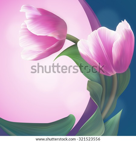 Pair of the Soft Pink tulips in beautiful green frame. Unique banner for congratulation, conceptual illustration.  - stock photo