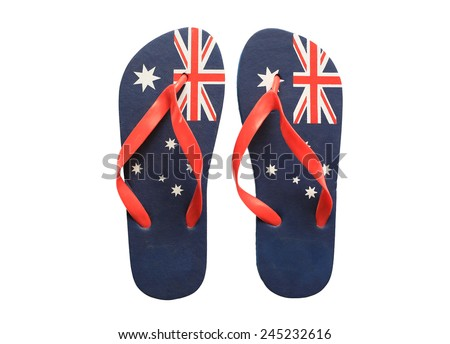 Pair of thongs with the Australian flag on them, on a white background.