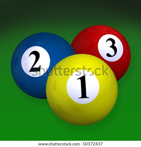 Pair of three billiard balls