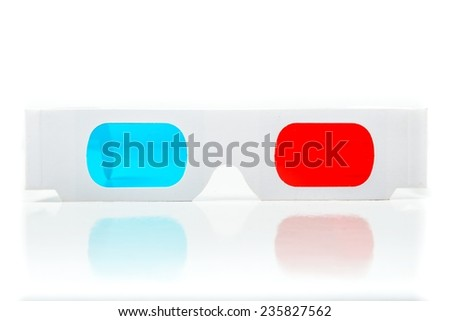 Pair of three dimensional glasses on white - stock photo