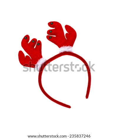 Pair of toy reindeer horns for festival of christmas and new year. Isolated on a white background - stock photo
