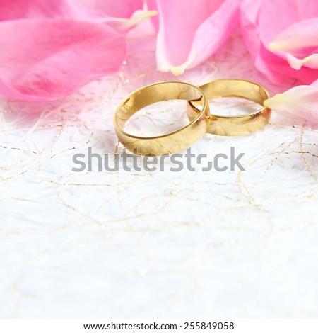 Pair Wedding Rings Roses Background Image Stock Photo Royalty Free