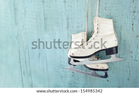 Pair of White Ice Skates - stock photo