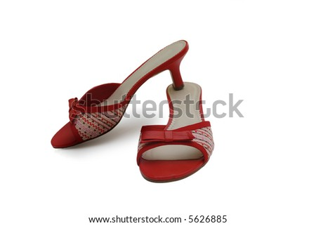 Pair of white lady's shoes isolated on white