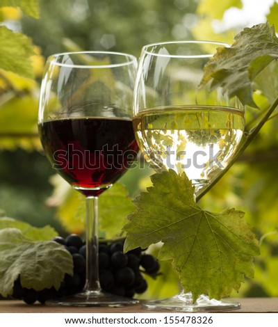 Pair of wineglasses and bunch of grapes