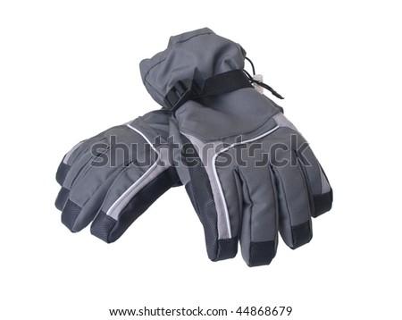 Pair of winter ski gloves isolated on white background - stock photo