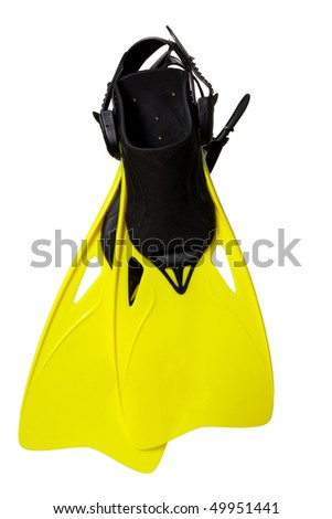 Pair of yellow flippers, isolated on white - stock photo