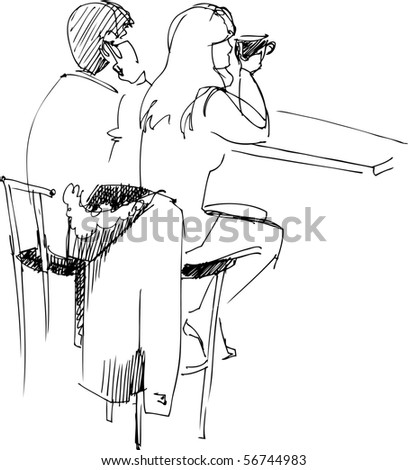 pair of youths at the table - stock photo