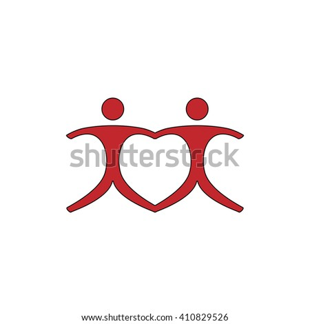 Pair Simple red icon on white background. Flat pictogram - stock photo