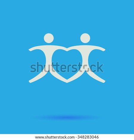 Pair White flat simple pictogram on blue background with shadow  - stock photo