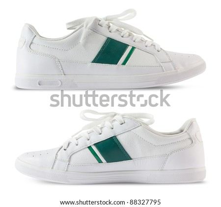 Pair white of sport shoes and Green bar design isolated on white background. Save Path for design work - stock photo