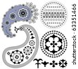 Paisley patterns and other vintage design elements - stock photo