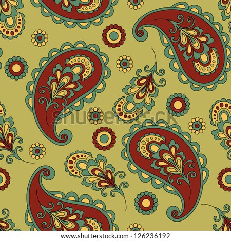 Paisley seamless pattern in vector. Raster version.